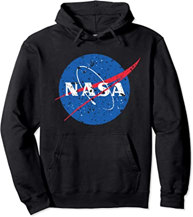 Pop Threads NASA Approved Meatball Logo with Stars Mens Fleece Hoodie Sweatshirt