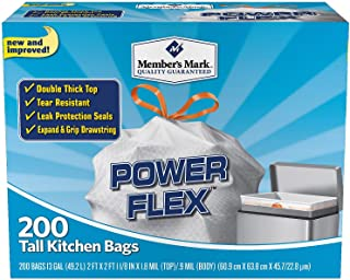 Member's Mark Power Flex Tall Kitchen Simple Fit Drawstring Bags