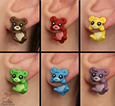 Rainbow bears earrings. Select one single earring or a pair (2 in 'quantity') Animal earrings made with polymer clay.