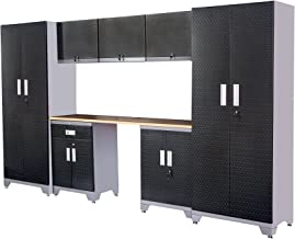 Garage Storage Cabinet Sets Organization - Most Popular in 2018, Total 8 Piece, 24 Gauge, Rubber Wood Work top, lockers and Shelves,Life Limited Warranty, (Gray Frame with Black Door)
