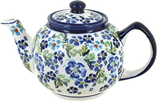 Blue Rose Polish Pottery Vintage Violet Medium Teapot
