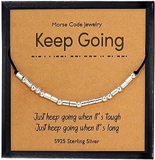 YooAi Inspirational Morse Code Bracciale Regali per Le Donne Il Suo Braccialetto di Perle in Argento Sterling su Gioielli ...