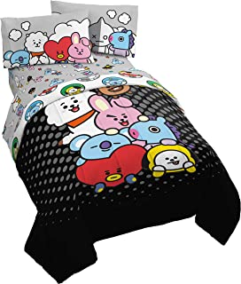 Jay Franco Line Friends BT21 Pyramid 4 Piece Twin Bed Set - Includes Reversible Comforter & Sheet Set - Super Soft Fade Re...