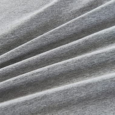 MUKKA Duvet Cover King Grey Chambray Microfiber Brushed, Coconut Button Closure Gray Heather Duvet Covers, Simple Breathable