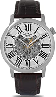 Mens Skeleton Automatic Watch with Leather Strap GLE000015/21S