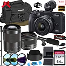 Canon EOS M6 Mark II Mirrorless Digital Camera with 15-45mm & 55-200mm Lens and EVF-DC2 Viewfinder (Black) + Prime Accessory Bundle with 64GB Memory, Canon Case & More