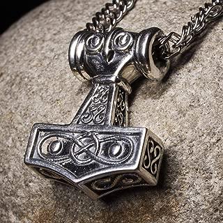 Viking Thors Hammer Mjolnir Odins Celtic Pendant Necklace Nordic Amulet Odin Norse Mythology Jewelry for Men Handmade Solid 925 Sterling Silver Medium Size