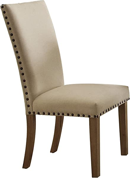 Homelegance 5100 S3 Fabric Upholstered Side Chair With Nailheads Beige Set Of 2