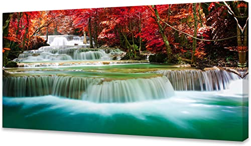 Cao Gen Decor Art-S05162 Wall Art 1 Pieces Waterfall Canvas Print Landscape Paintings Framed Red Trees Forest Canvas ...