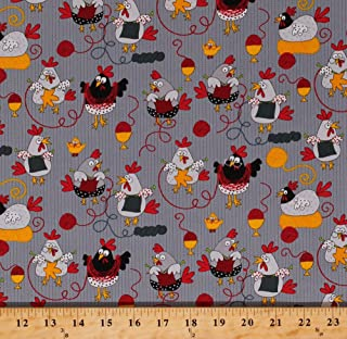 Cotton Knitting Roosters Chickens Chicks Hens Yarn Balls Knitters Knit Egg Cups Farm Fowl Birds Gray Cotton Fabric Print by The Yard (gail-c5605-grey)