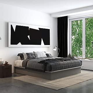 DHP 4413449 Maven Platform, King Size Frame, Grey Linen Upholstered Beds,