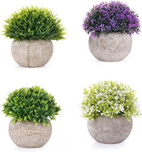 EKKONG Artificial Plants Artificial Flowers Bonsai with Gray Pot Mini Plastic Faux Green Grass for Outdoor and Indoor Wedding/Office/Home Decoration (4 pcs)