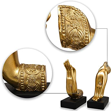 TERESA'S COLLECTIONS Decorative Gold Bookends for Shelves, Resin Book Stoppers Heavy Duty for Home Office Decor, 2 Packs