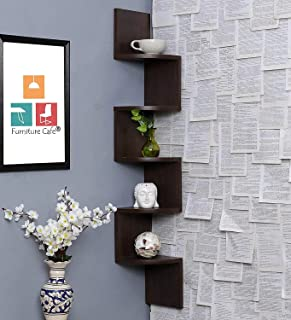 Furniture Cafe Wooden Wall Shelves   Corner Hanging Shelf for Living Room Stylish   Zig Zag Home Decor Floating Display Ra...