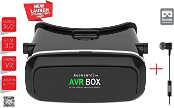 Augmento AXE with Handfree VR Virtual Reality Box   3D Glass Box   Headmounted Kit Adjustable Plastic Headset  With 360 Degree Panoramic View  Suitable for 4-6 Inch Smartphones   Premium IMAX 3D Cinema Immersive Gaming Experience  2017 Hot Selling Brand New Innovative Technology   For Android IOS Apple iPhone Samsung Sony HTC Gionee Oppo Oneplus iBall Vivo Intex Micromax In Black   by GETITPAL