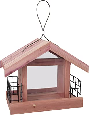 Pennington 100511300 Cedar Chalet Bird Feeder with Suet Cages, 2 LB Capacity