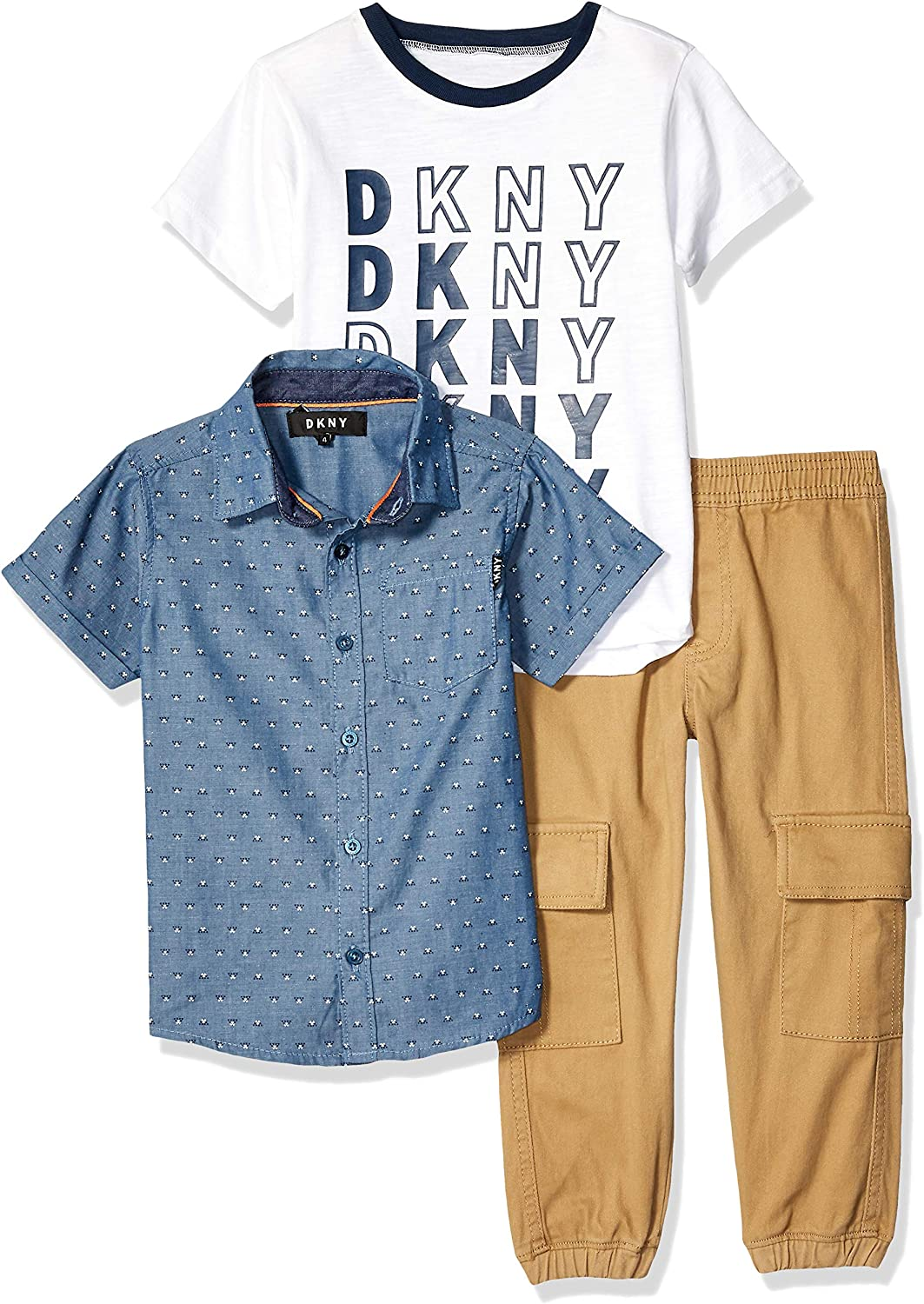 Stretch Denim Jeans Overalls with Short Sleeve T-Shirt DKNY Toddler Boys/' Overall Set