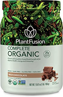 PlantFusion Complete Organic Plant Based Pea Protein Powder | Fermented Superfoods | Vegan, Gluten Free, Non Dairy, Soy Free, Chocolate, 1 LB
