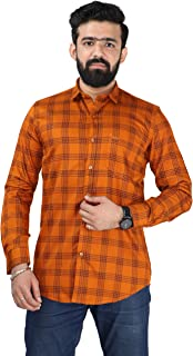 Color Play Men's Pure Cotton Slim Fit Checkered Casual Full Sleeves Shirt