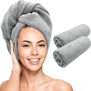 Scala toalla de microfibra para el pelo - Magic Instant Turban Twist de secado rápido para mujer. Anti encrespamiento rizado, recto, tratado con color, cabello. (2 unidades)