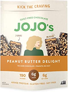 JOJO's Guilt Free Peanut Butter Delight Dark Chocolate | 1 Bag - (7 Bars)) | Keto, Vegan and Paleo Friendly, Non GMO Glute...