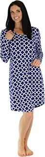 bSoft Women's Sleepwear Bamboo Jersey Long Sleeve Nightgown Quatrefoil