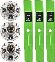 8TEN Spindle High Lift Blade Kit for John Deere 48 inch Cut Deck 717E GX325 GX345 LX280 X300 X320 X500 X520 X534 Z425