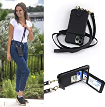 Crossbody Cell Phone Case and Wallet Compatible with iPhone 11 Pro Max, Cross Body Phone Purse Bag with Five Card Slots Including Transparent ID Holder and Adjustable 48 to 54 Inch Strap