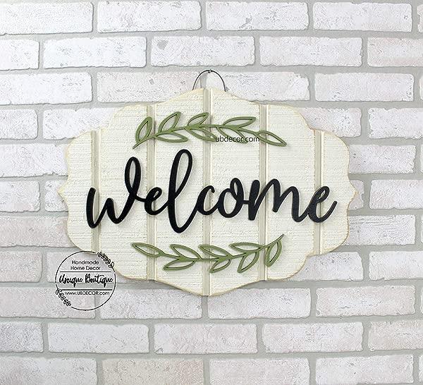 Qilami 38x56cm Modern Door Wreath Welcome Sign For Front Door Hanging Wood Sign Front Door Decor Year Round Sign Black 3D Lettering 22x15 Minimalist 855089