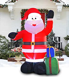 PARAYOYO 8 Ft Inflatable Christmas Santa Claus Decoration with a Gift Box Decorations for Indoors Outdoor Home Yard Lawn Garden Decor