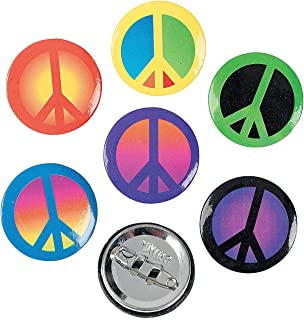 Fun Express Retro Peace Sign Buttons - 48 Pieces