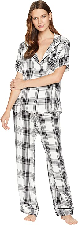 Ultra Soft Short Sleeve + Pants Plaid PJ Set