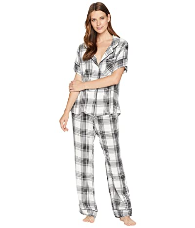 Plush Ultra Soft Short Sleeve + Pants Plaid PJ Set (Black/White) Women