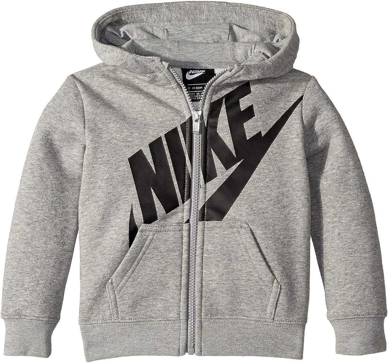 Nike Kids Baby Boy's Futura Fleece Full Zip Hoodie (Toddler) Dark Grey Heather 3T Toddler