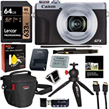 Canon PowerShot G7 X Mark III 20.1MP 4K Digital Camera with 4.2X Optical Zoom Lens 24-100mm f/1.8-2.8 Silver 3638C001 with 64GB Memory, Tripod, Camera Bag, HDMI Cable, Cleaning Kit Bundle