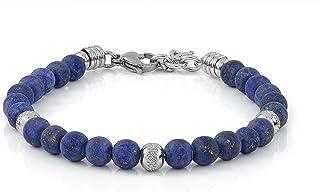 10:10 Bracciale con pietre naturali lapislazzuli frost da 6 mm, beads in acciaio inox, bracciale molto resistente prodotto...