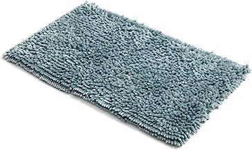 MICRODRY SoftGloss Shiny Absorbent Shag Chenille Memory Foam Bath Mat with GripTex Skid-Resistant Base (21x34, Aqua)