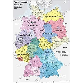 regierungsbezirke deutschland karte XXL DIN B1 (1000 x 700 mm) Verwaltungskarte Deutschland
