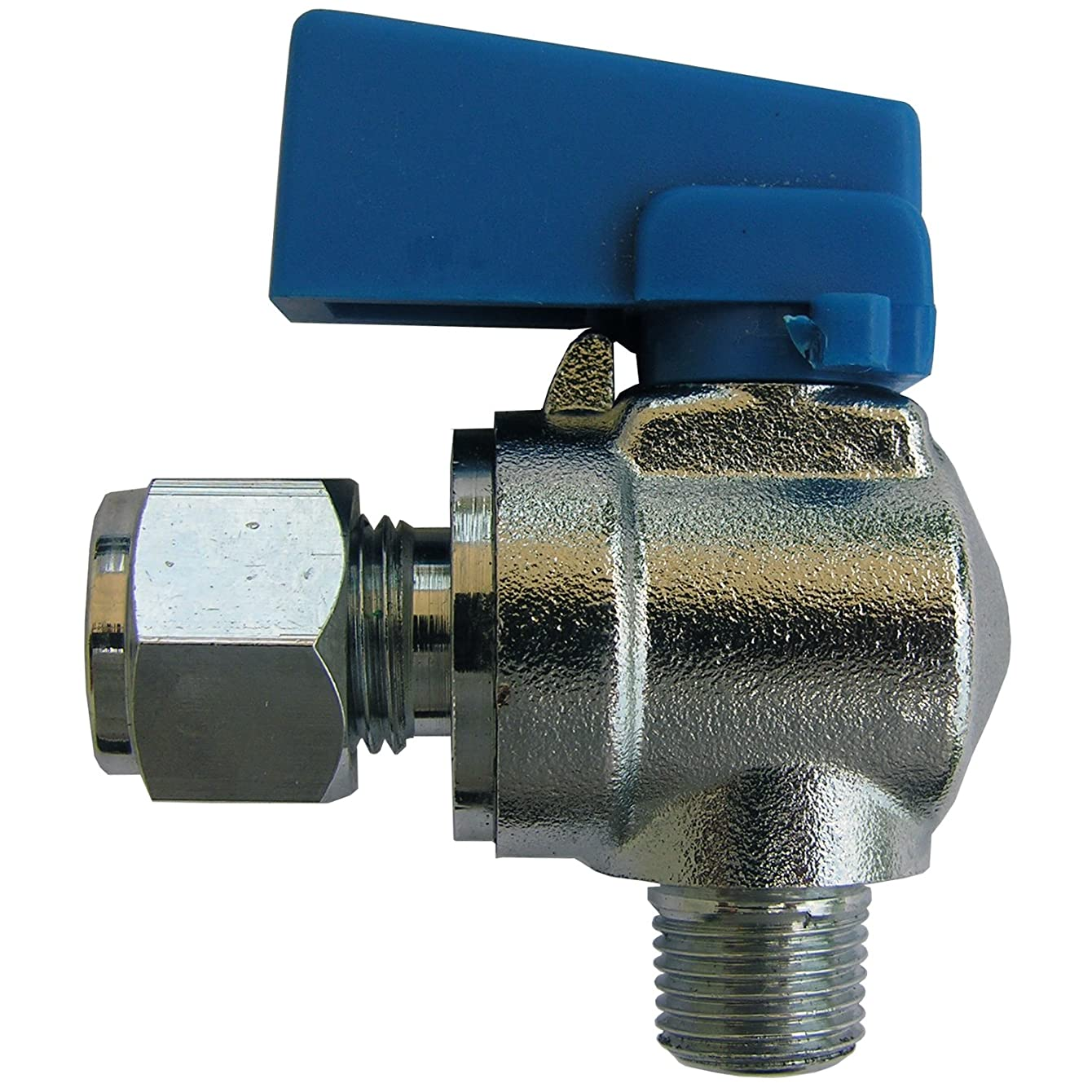 LASCO 17-0939 Angle Mini Ball Valve with 1/4-Inch Compression x 1/8-Inch Male Iron Pipe Thread, Chrome Plated Brass