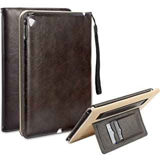 ipad 9.7-inch case,2018/2017 5/6th Generation and iPad Air 2 / iPad Air,YAKAR Premium PU Leather Ultra-Thin Folding Stand case with Automatic Wake/Sleep,Hand Strap and Credit Card Pocket (Brown)