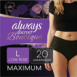 Always Discreet Boutique Low-Rise Postpartum Incontinence Underwear Size L Maximum Absorbency, Up to 100% Leak Protection,...