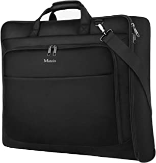 Travel Garment Bag, Large Carry on Garment Bags with Strap for Business, Waterproof Hanging Suit Luggage Bag for Men Women, Matein Wrinkle Free Suitcase Cover for Shirts Dresses Coats, Black