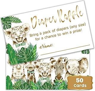 Safari Theme - Baby Shower boy Diaper Raffle Tickets. Set of 50 Green Leaf Rustic Tropical - Woodland Raffle Tickets Boy - Baby Shower Fun Games Green Leaves