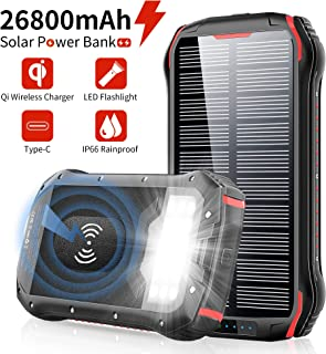 Solar Charger 26800mAh, ORYTO Qi Wireless Portable Solar Power Bank External Backup Battery, 3 Outputs-5V/3.1A & 2 Inputs Huge Capacity Phone Charger for Smartphones, 18LED Flashlights for Outdoor