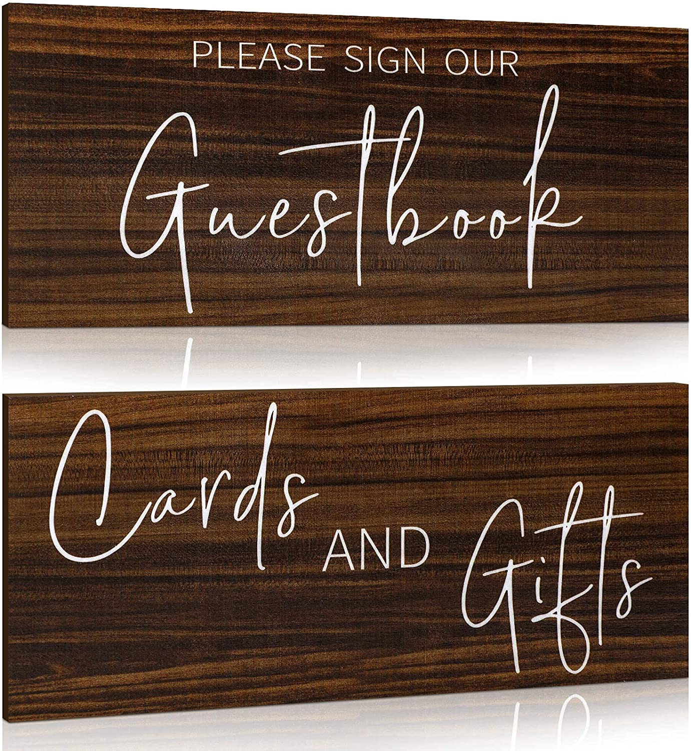 Jetec 2 Pieces Wooden Guest Book Sign Cards and Gifts Wedding Sign Rustic Farmhouse Hanging for Wedding Cabin Beach Rental House Home Decor (Brown)