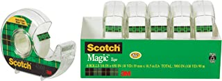 Scotch Brand Magic Tape, 6 Dispensered Rolls, Writeable, Invisible, The Original, Engineered for Repairing, Great for Gift Wrapping, 3/4 x 650 Inches (6122)