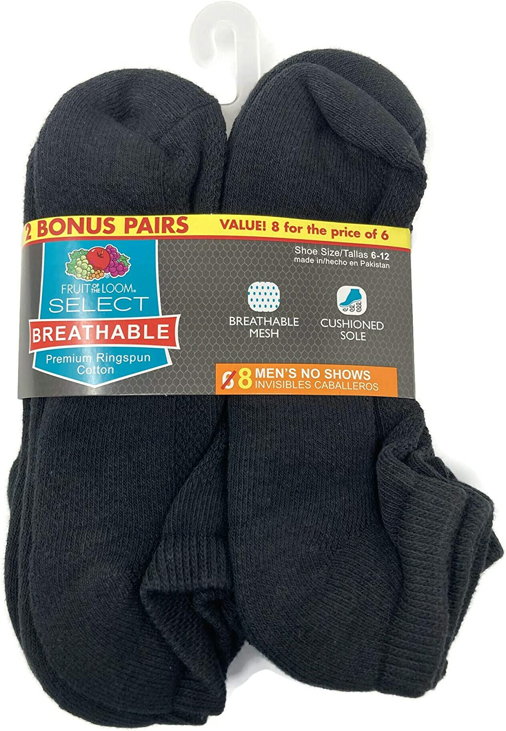Fruit Of The Loom Mens 8 Pack Breathable No Show Socks
