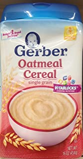 Gerber Single Grain OATMEAL CEREAL 16oz (Pack of 5)