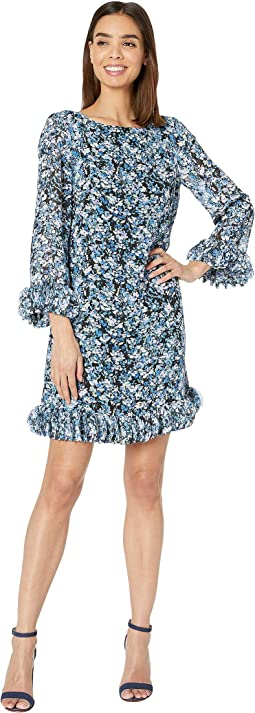 Long Sleeve Printed Ditsy Floral Chiffon Dress with Hem and Sleeve Detail