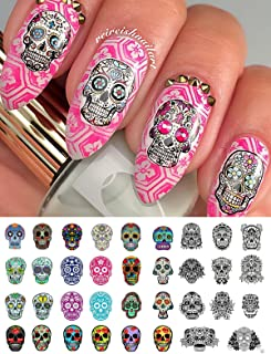 Sugar Skull Nail Art Day of the Dead Decals Assortment #3 - Featured in Rachael Ray Magazine October 2014!